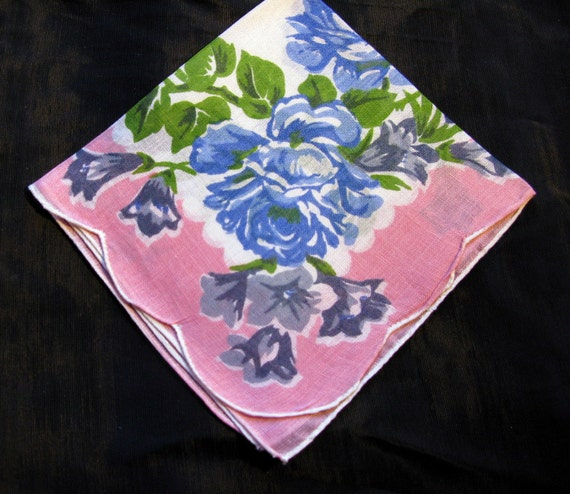 Mother Of Bride Handkerchief, Rose Flower Handkerchief, Vintage Pink Hankies Something Blue Wedding