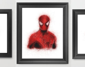 Spiderman INSTANT DOWNLOAD Set, Marvel comics, hero vs villian, children's room, kids room decor set, birthday - Digital Comic Prints