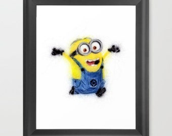 Minion INSTANT DOWNLOAD, Despicable Me, art, digital print, childrens room, nursery, birthday party, printable art, movies, animation