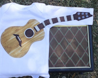 NEW WOODGRAIN FABRIC** Delightfully Fun Guitar Outfit - Wood Grain Look