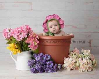 Crochet Pink Flower Bonnet- Newborn to 0-3 Months- Photo Prop