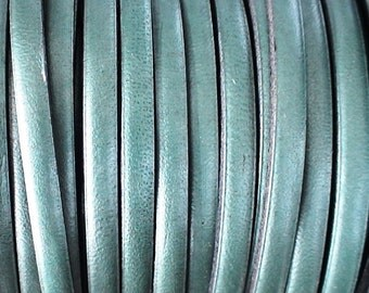 1 yard 1 meter 5mm metallic green first quality leather cord