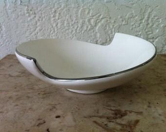 Swirl Shape Bowl, White China with Silver Rim, Elsa L, Segment of Circle Design, Vintage China, Fruit Bowl or Serving Bowl, Free Shipping
