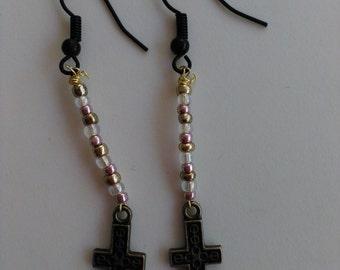 Dangle Earrings Cross Beads Charms Hook