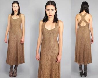 Vtg 80s Nude Floral Lace Maxi Dress S M