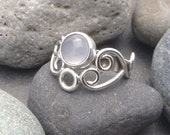 Pale lavender chalcedony ring with solid sterling silver handmade flowing intricate lace filigree swirls, size 7.5