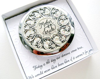 Mother of the bride Compact, Thank you Card, Custom Color High-End Mirror Push Button,with Swarovski Crystals