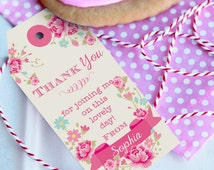 Shabby Chic Favor Tags - Shabby Chic floral Favour Tags - Instant Download and Edit File at home with Adobe Reader