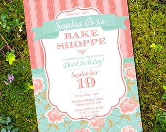 Bake Shoppe Party Invitation - Vintage Shabby Chic - Baking Party Invitation - Instant Download and Edit at home with Adobe Reader
