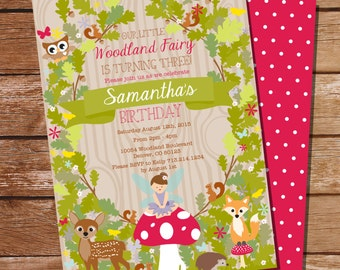 Woodland Fairy Party Invitation - Woodland Invitation - Instant Download and Editable File - Personalize at home with Adobe Reader