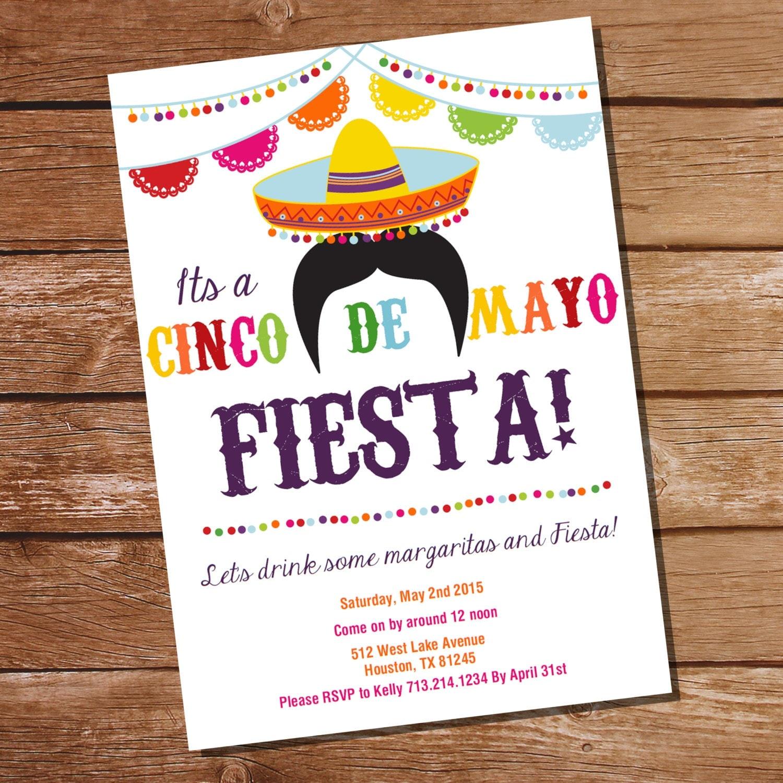 Cinco De Mayo Fiesta Invitation Mexican Fiesta Invitation