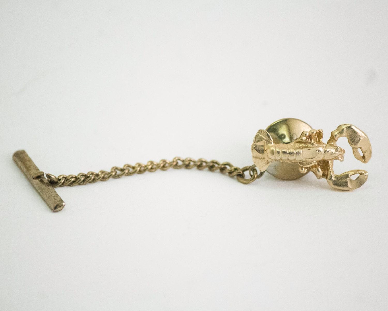 vintage tie pin lobster tie tack gold toned metal