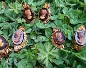 Vintage. Juliana Cameo clip earrings with rhinestones caramel browns