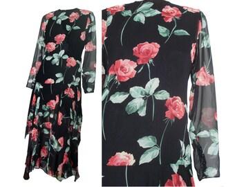 Vintage 80s Party Dress Rose Print Black Chiffon Drop Waist Flapper Dress S M