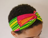 The 'Alexandra' Tribal African Kente Pink/Green Print Turban Headband