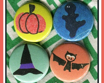 """4 essestial Halloween 1"""" inch buttons, medallions or magnets SET G"""