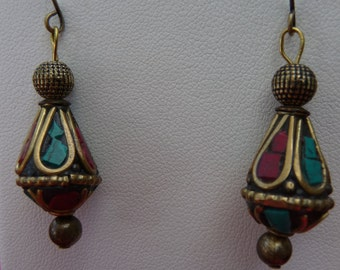 Gorgeous brass and glass beads from Thailand earrings