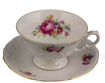 Pink Rose Floral Teacup, Walbrzych  -  Poland,  Footed Tea Cup and Saucer, Tea Party Decor  Polish China