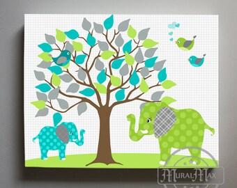 ELEPHANT Baby Boy Nursery Wall Art - Canvas Art, Tree Nursery Decor  - Boys Room Decor - Canvas Print , Green and Teal Nursery Decor