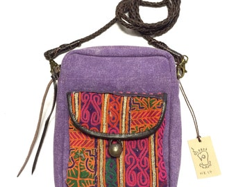 Sale!Sale!Sale! Thai old fabric with leather 5pockets shoulder bag!