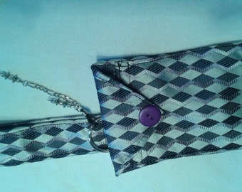 Upcycled necktie -  cellphone/ipod/iphone case with a dragone