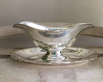 Silver Gravy Boat Vintage Silver Plated Sauce Dish Fine Dining Serving Piece