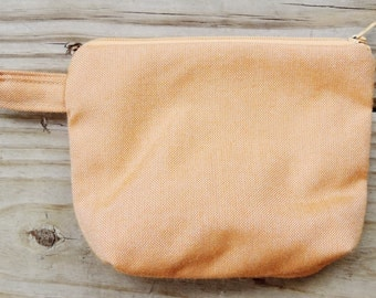 Large Lined Orange Coin / Change Purse, w/ Zipper Closure, Recreated by Carolyn, made from Upcycled/Recycled Materials