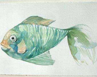 Teal Fish painting. Watercolor original. Small watercolors 7,5 by 11/ Fish watercolors/ Nursery art/ Home decor/ Watercolor painting origina