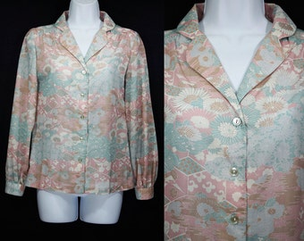10 Dollar Sale---Vintage 80's COLLEGIAN of CALIFORNIA Floral Pattern Blouse S