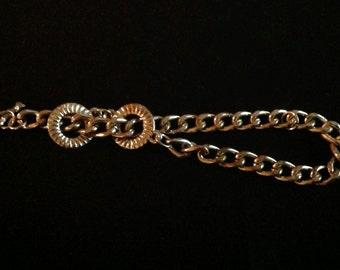 Vintage Silver Double Circle Charm Bracelet