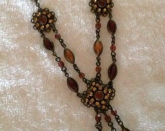 Vintage Amber/Topaz Rhinestone Drop Necklace