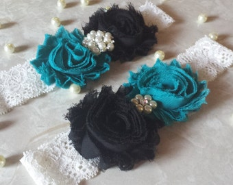 Teal/Black Wedding Garter -  Bridal Garter Set - Ivory Stretch Lace -  Rhinestone embellishment.  .
