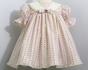 Infant Girl, Baby Girl Dress, Pink Wallpaper Stripe Fabric, Vintage Design, Handmade, Classic Float Dress, Traditional, 12 to 18 Month Size