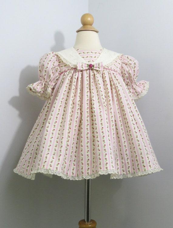 Infant girl baby girl dress pink wallpaper stripe fabric for Baby girl fabric