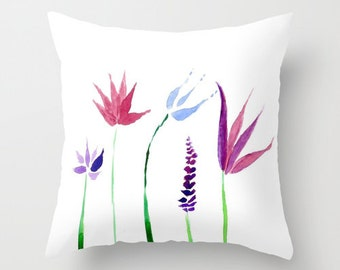 Minimal Purple Flowers Throw Pillow Cover, modern pillow cover, throw pillow cover, watercolor pillow, purple flowers pillow, purple pillow