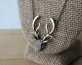 Rhinestone Deer Head Antler Necklace / Brass Chain