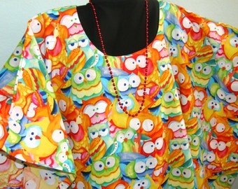 OWL TUNIC, DRESS or Poncho -- Be wise!  Be fun in this colorful owl tunic.  Cotton for Full Figues or Plus Sizes