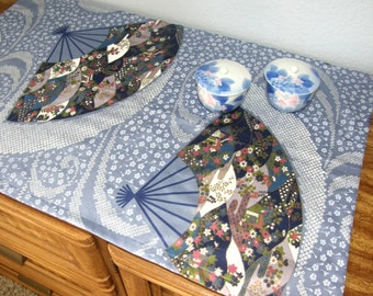 Japanese Fan Table Runner - Antique blue with Japanese fan design - Cotton - Also pink, green, navy, white