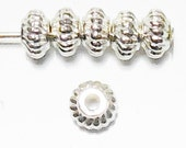 50pcs 6mm Silver Rondelles Beads Saucer TEXTURED BRIGHT SILVER Plated Diy Jewelry Making Beads Free Combined Shipping