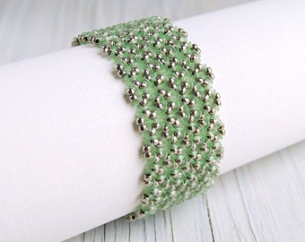 Sea Glass Green Cuff Bracelet with Magnetic Clasp, Green and Silver Beaded Cuff, Floral Pattern Bracelet, Beach Jewelry, Made-to-Order