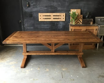 Solid Reclaimed and Rough Sawn Red Oak Farm Dining Table - - Wood Trestle Base Breadboard Ends Barn Rustic Traditional Farmhouse Country