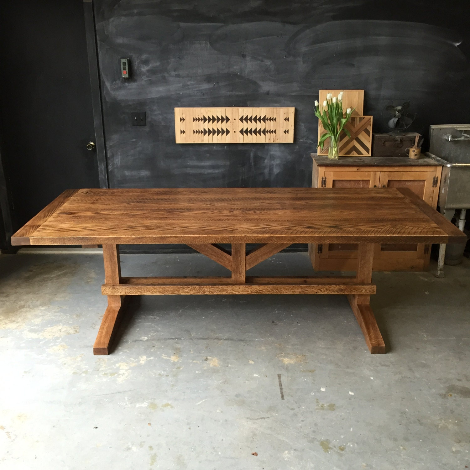 Solid Reclaimed and Rough Sawn Red Oak Farm Dining Table