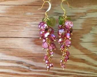 Czech fire-polished Pink Grape Cluster Earrings