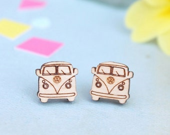 Laser Cut Wooden Camper Van Stud Earrings
