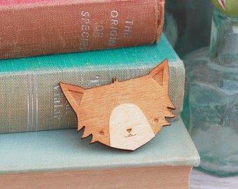 Laser Cut Wooden Cat Brooch