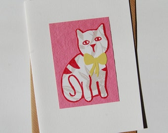 Lady Cat With Bow Valentine's Day Blank Card