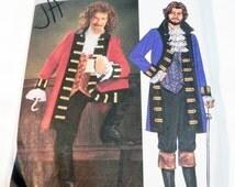 "Pirate Jacket Captain Hook Coat Halloween Costume Vest Jabot Pants sewing pattern Butterick 3894 Chest Size 42 44 46 48"" UNCUT FF"