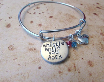 Whistle While You Work Hand Stamped Expandable Charm Bracelet