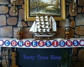 Concession Stand Candy Buffet Banner . Sports party . All-Star Theme . Baseball Birthday Party . Concessions Banner . Red White Blue