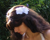 Bridal veil comb, hair ornament, wedding hairpiece, white beads, lace